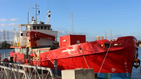 Maritime Constructions vessel <i>MPV Andrew Wilson</i> at the dock in Port Adelaide