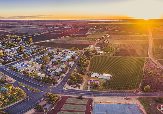 Aerial view of the sun setting over Monash in South Australia
