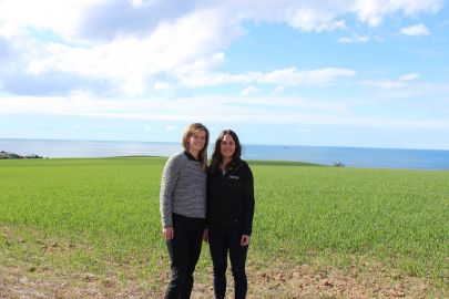 PIRSA Fisheries Enhancement Project Officer, Sarah-Lena Reinhold and The Nature Conservancy's Anita Nedosyko Marine Restoration Coordinator SA overlooking the site near Rogues Point, Yorke Peninsula