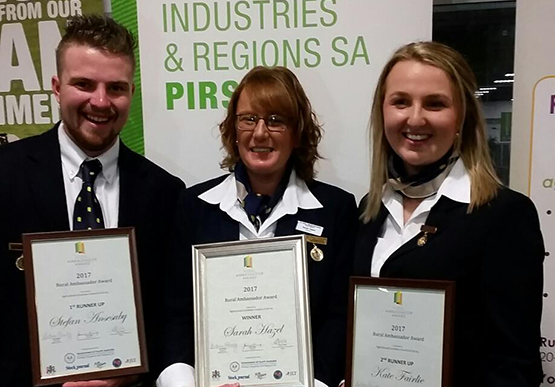 Rural Ambassadors Awards 2017 - State Rural Ambassador Award Sarah Hazel and two runners up Stefan Anesbury and Kate Fairlie