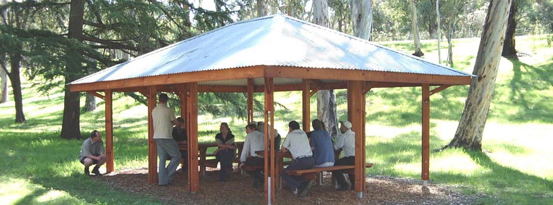 Bundaleer picnic grounds with people sitting at a table