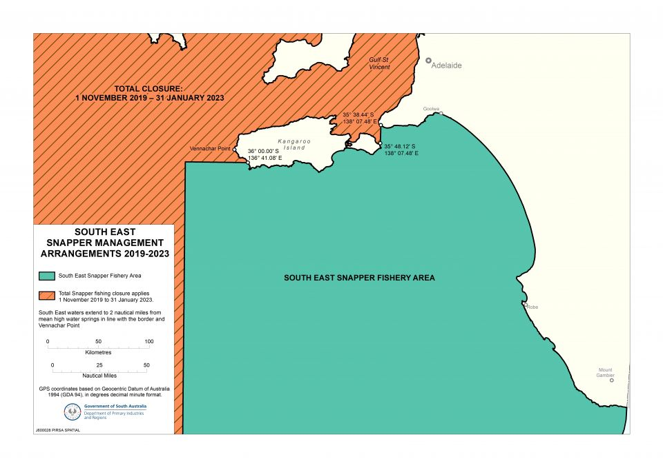 A map showing Snapper fishing closures in South Australia. A total Snapper fishing closure is in place in West Coast / Spencer Gulf / Gulf St Vincent waters until 11:59 pm on 31 January 2023. A seasonal closure is also in place in South East waters every year from 12:01 am on 1 November to 11.59 pm on 31 January.
